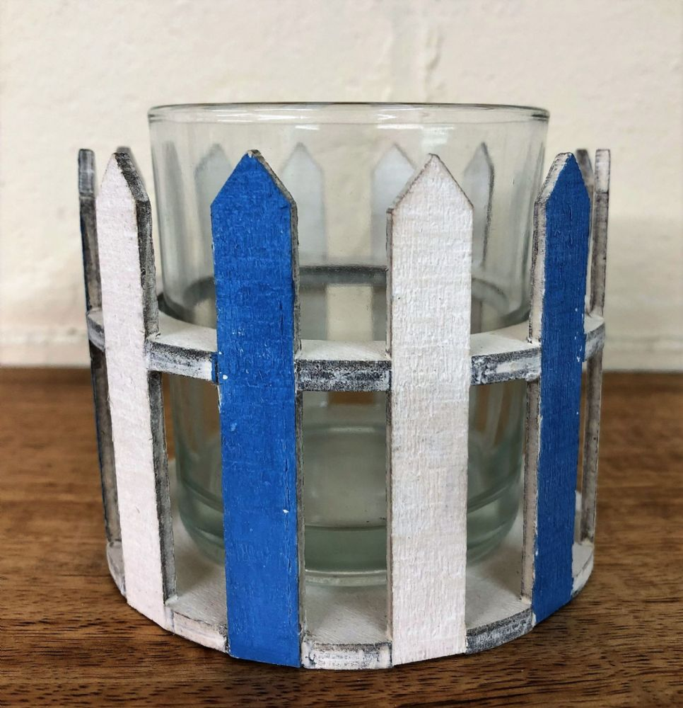 Blue and White Wooden Fence Coastal Tea Light Holder